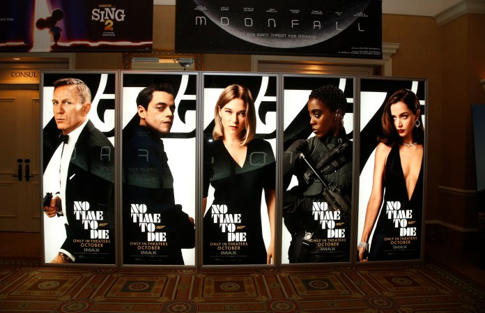 Movie posters for No Time to Die displayed at Caesars Palace in Las Vegas during CinemaCon on Aug. 26, 2021.