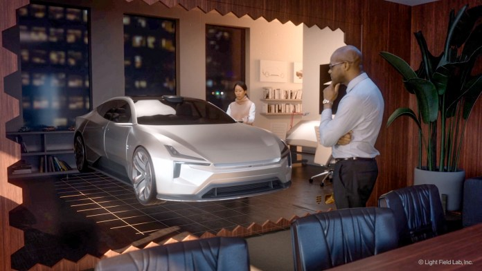 SolidLight Display's futuristic vision art showing a sports car