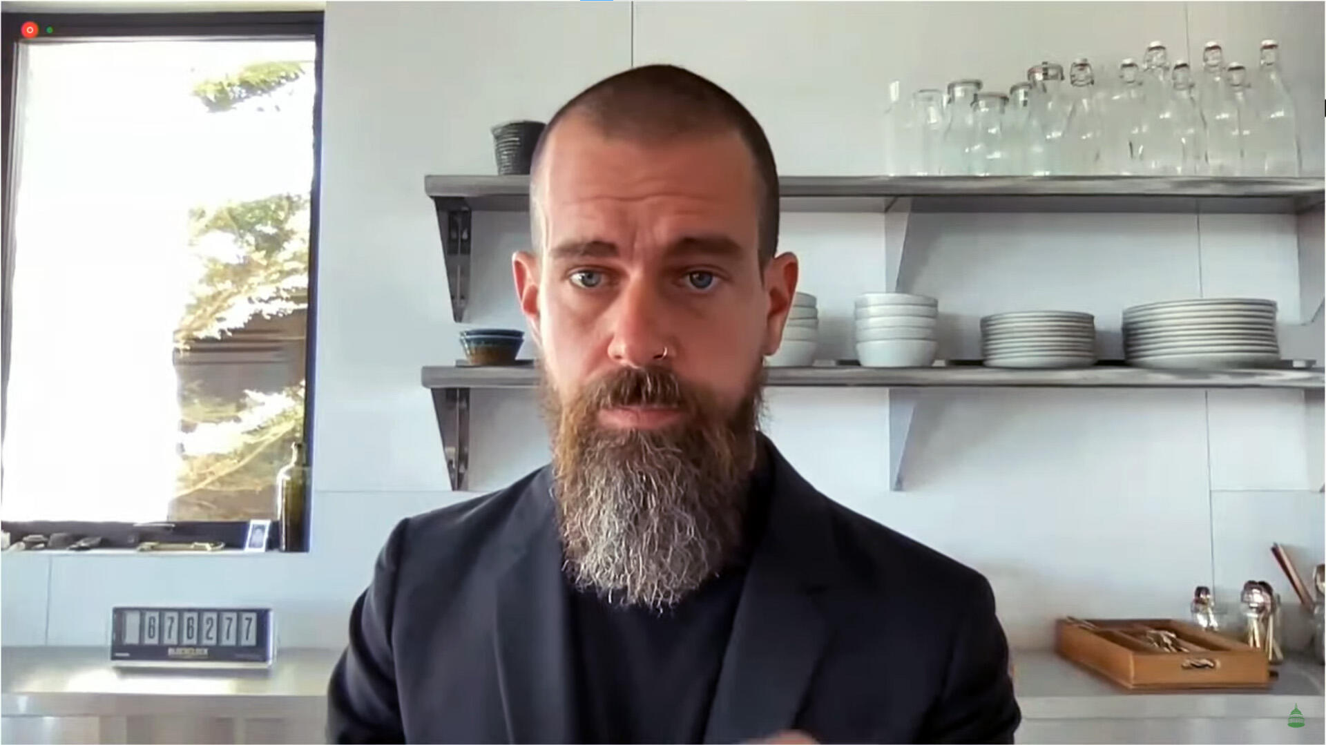 Twitter CEO Jack Dorsey with Bitcoin blockclock