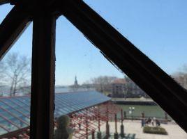 La statue de la Liberté à portée de main, derrière une vitre d'un bâtiment d'Ellis Island