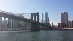 Vue sur le pont de Brooklyn et la skyline du Financial District depuis le Brooklyn Bridge Park