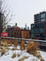 Neige sur la High Line. (Photo prise hier par Stéphanie Attia)