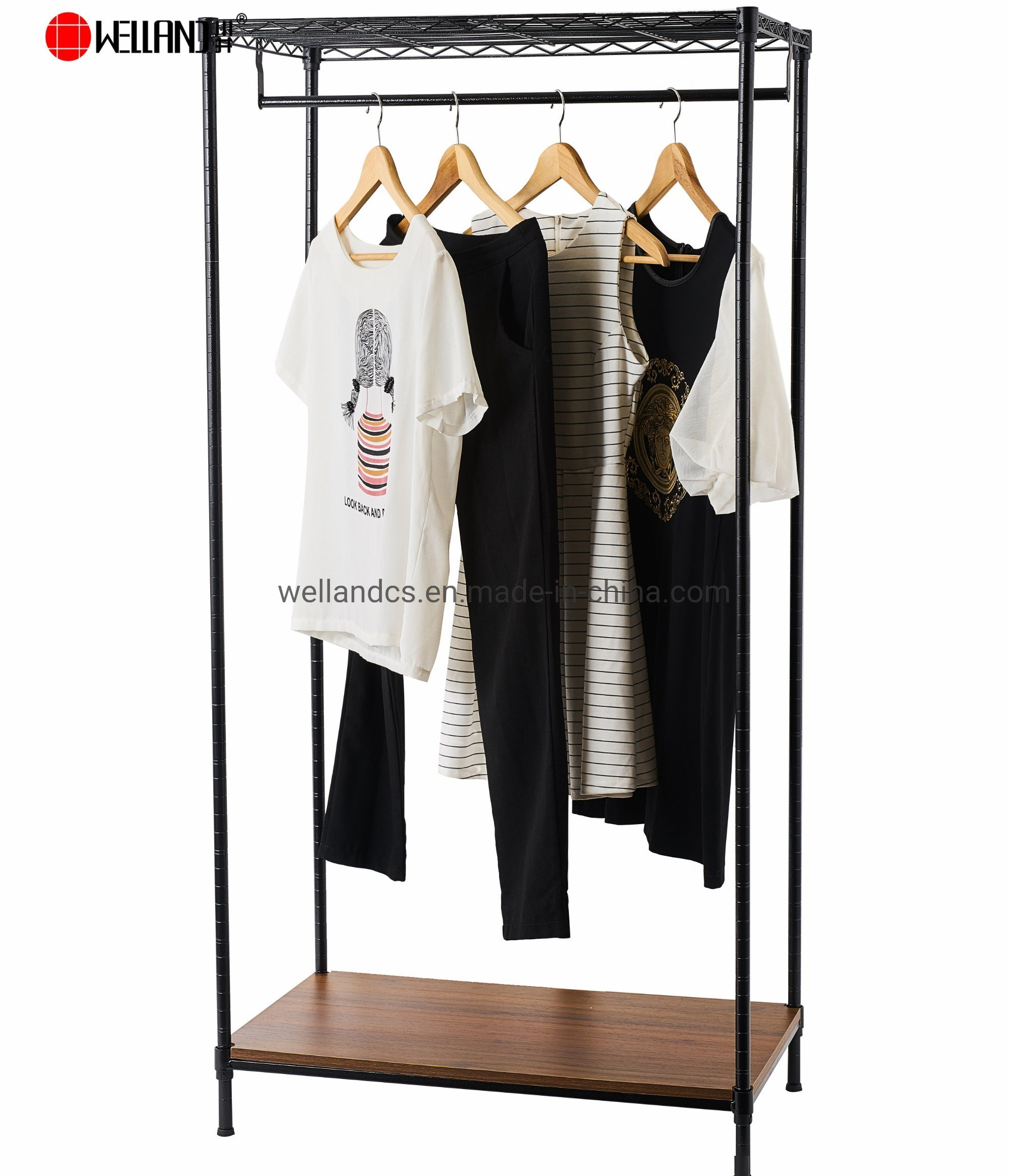 New Design Free Standing Sturdy Clothes Rack 2 Tiers Diy
