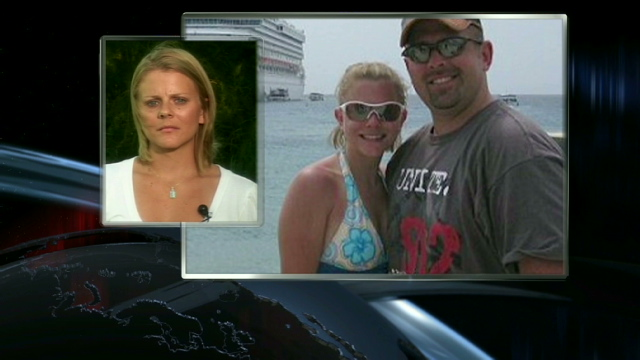 Tiffany Hartley said her husband, David, was shot and killed on Falcon Lake last month.