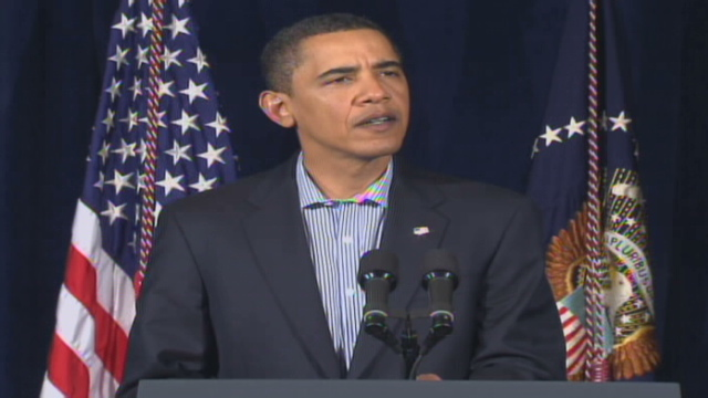 President Obama speaks at a press conference.