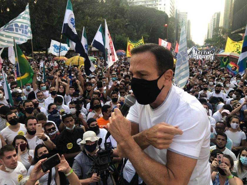 The governor of São Paulo, João Doria, during a protest against the Bolsonaro government on Avenida Paulista
