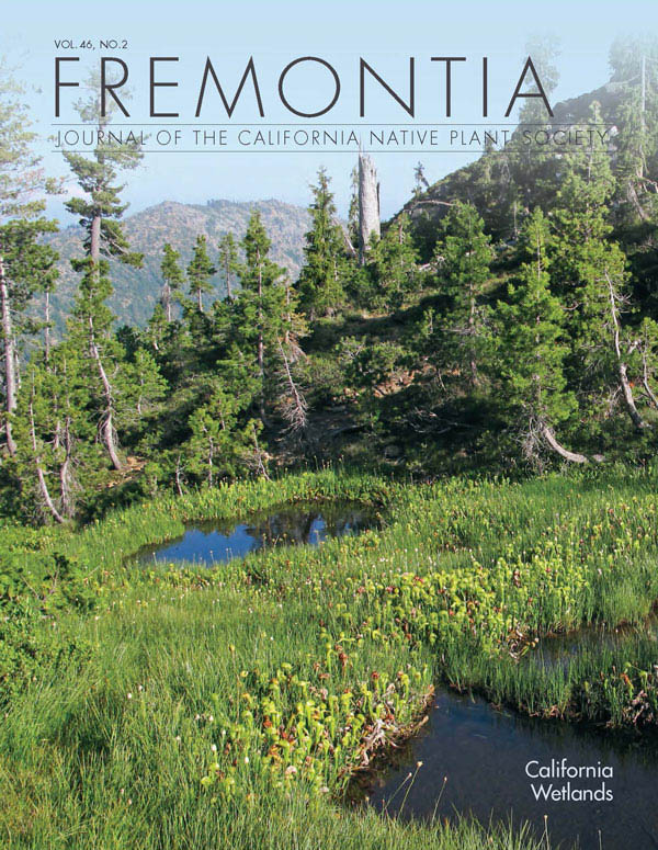 Fremontia Wetlands Cover Vol. 46, No. 2. Darlingtonia californica fen in the Siskiyou Wilderness