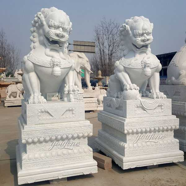 Outdoor Garden Marble Chinese Fu Dog Statue Mafd 02 You