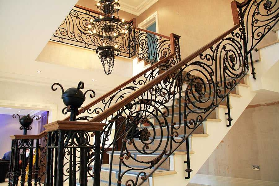 Beautiful Grand Staircase Wrought Iron Handrails For Indoor Stairs   Stair Handrails For Sale   Iron Staircase   Cable Railing   Deck Railing   Handrail Bracket   Balusters