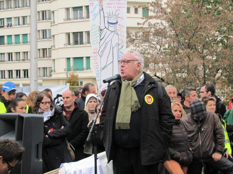 Gérard Filoche - Rassemblement du 16 octobre 2015 à Annecy en soutien à l'inspectrice du travail Laura Pfeiffer et au lanceur d'alerte