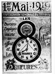 1er mai 1919 - CGT - affiche pour la journée de 8 huit heures