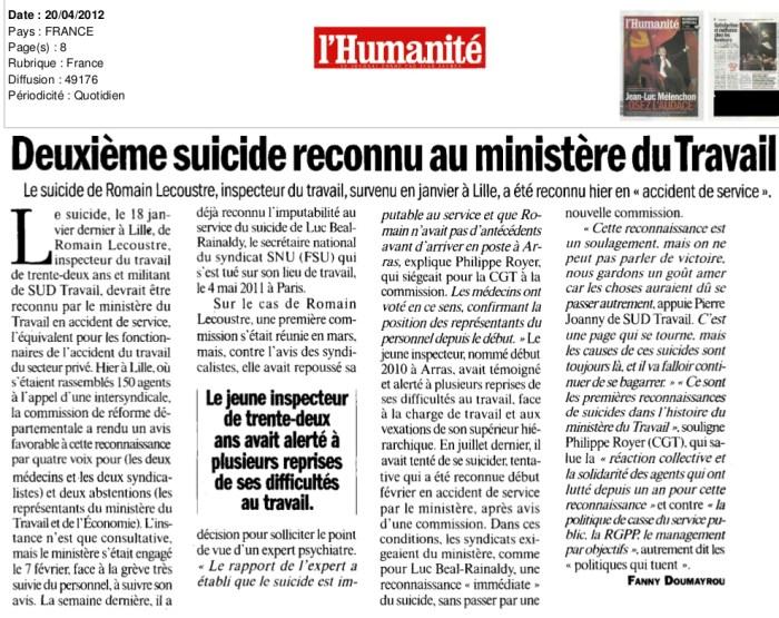 suicide-reconnu-ministère-travail-accident-service