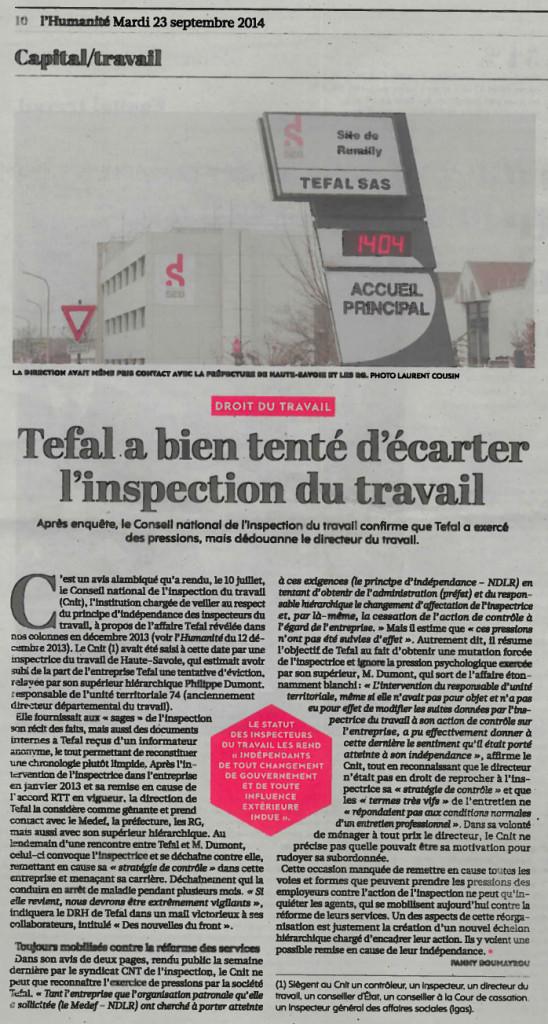 Le conseil national de l'inspection du travail confirme que l'inspection du travail a bien fait l'objet de pressions de la part de Téfal et du Medef local.