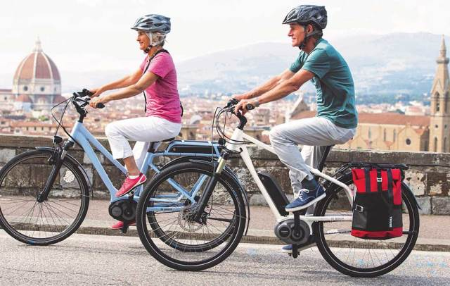 Seniors going uphill on e-bikes. Source: Bosch Bike Systems.