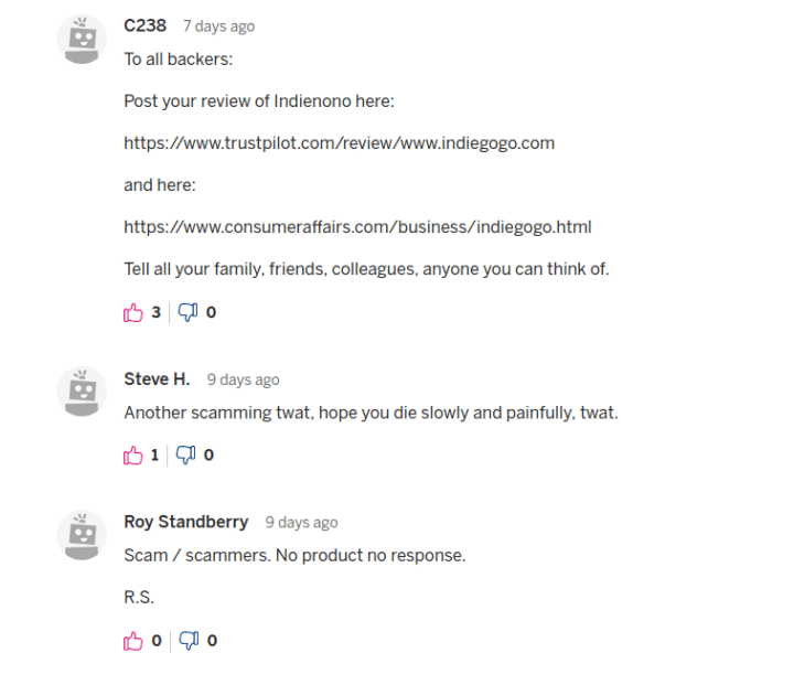 Indiegogo scam comments