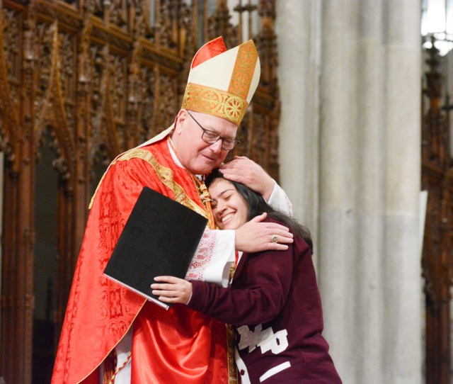 Cardinal Dolan Hugs Leilani Aviles After The Senior From The Academy Of Mount St Ursula