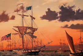 painting of two masted ships
