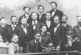 B&W photo of group of people
