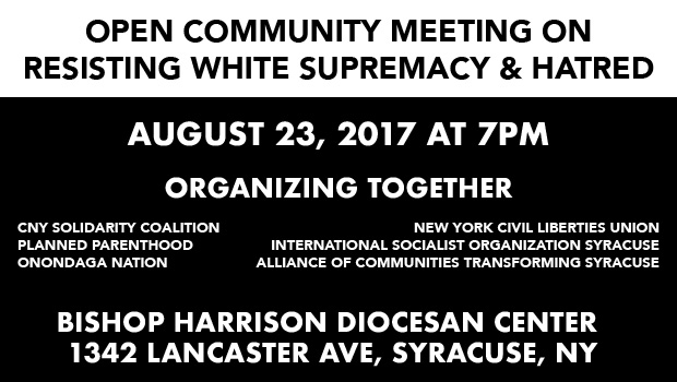 Open meeting resisting white supremacy & hatred