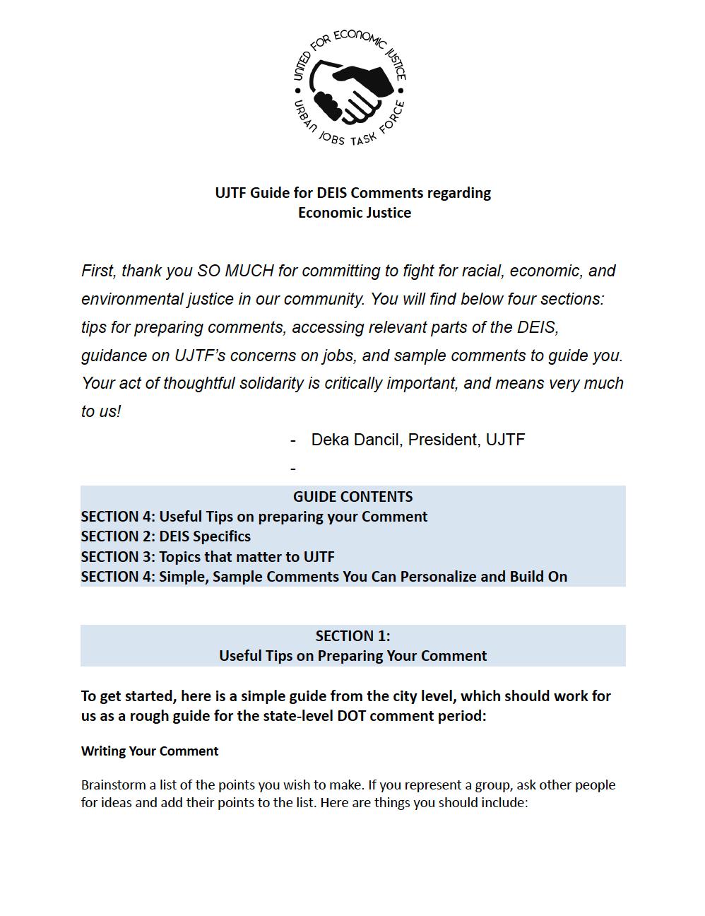 UJTF Guide for DEIS Comments regarding Economic Justice
