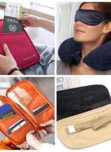 Kit Viaje Organizador Porta Pasaporte Portavalores Almohada