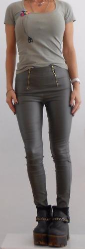 Pantalón-bengalina/engomado-elastiz/cierres-rosa-negro-verde