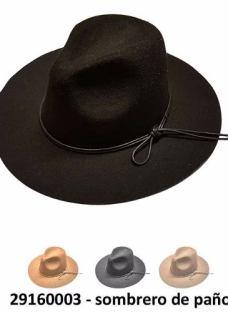 Sombrero De Paño Con Cinta De Cuerina Unisex...