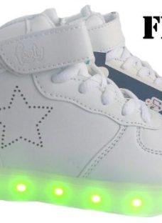 Zapatillas Footy Con Luces Led Carga Usb Mundo Moda Kids