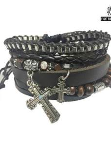 Brazalete Pulsera Hombre Fight For Your Right Cruces