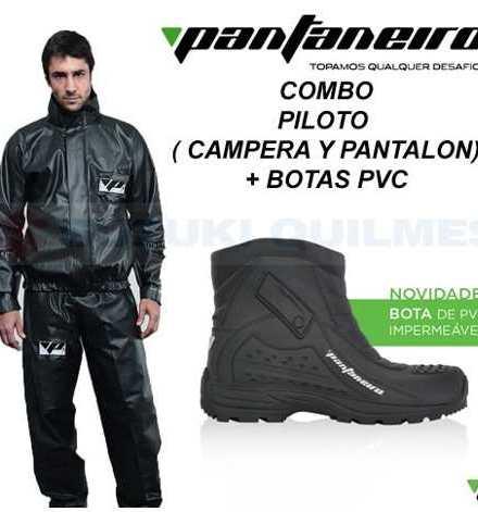 Combo Equipo De Lluvia Moto Pantaneiro Piloto + Botas De Pvc