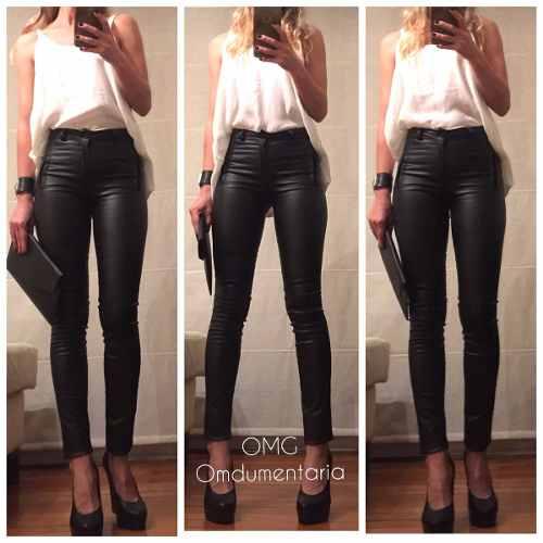 8301bee7cbf9 Pantalon Mujer Vestir Engomado Tiro Alto Elastizado Leggins ...