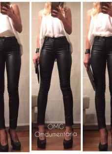 Pantalon Mujer Vestir Engomado Tiro Alto Elastizado Leggins