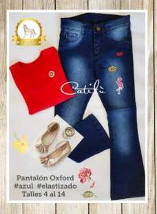 Pantalón Oxford Nena Jeans Con Parches Catilu Talles 4 Al 14