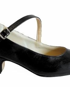 Zapatos De Español Y Folklore En Cuero Negro