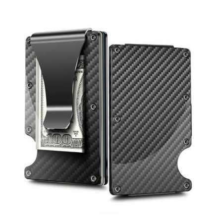 Billetera Slim Aluminio Clip Tarjetero Carbono Elastico