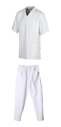 Ambos Pantalon Y Casaca Escote V Blanco S M L Xl Xxl Xxxl