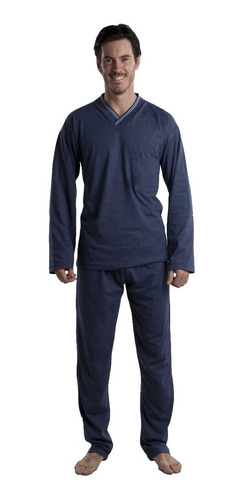 Pijama Hombre Invierno Liso 100% Algodon