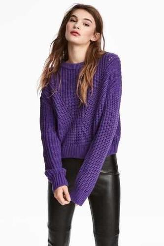 Sweater Calado En Torso De Mujer Mora* Chuva Ropa