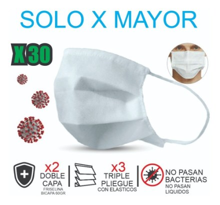 Barbijo Doble Capa Lavable Reutilizable. X 30 - $22 C/u