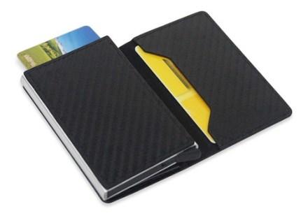 Billetera Tarjetero Aluminio Con Tapa Simil Carbono Monedero