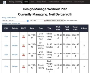 Rowing Workouts - Athlete Management Portal - Rowing Coaching