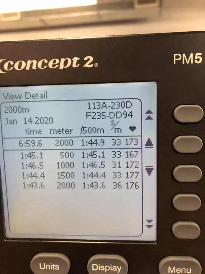 2k row personal best time coach bergenroth