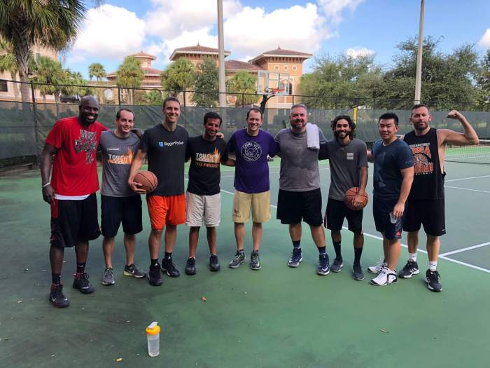 Chad with basketball players at FinCon 2018- What Suze Orman Got Wrong About the FIRE Movement