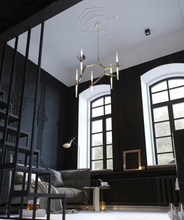 Mini piso de 30 metros donde lo oscuro es un plus