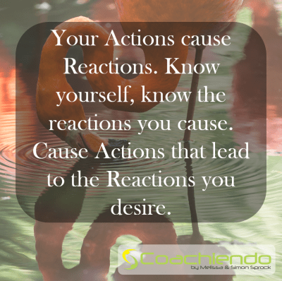 Your Actions cause Reactions. Know yourself, know the reactions you cause. Cause Actions that lead to the Reactions you desire.