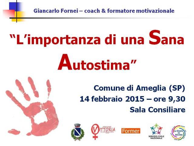 Ameglia - Conferenza Autostima contro la Violenza sulle Donne - 14 febbraio 2015 - prima pagina