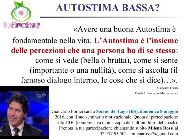 Autostima Bassa - una frase del coach motivazionale Giancarlo Fornei...