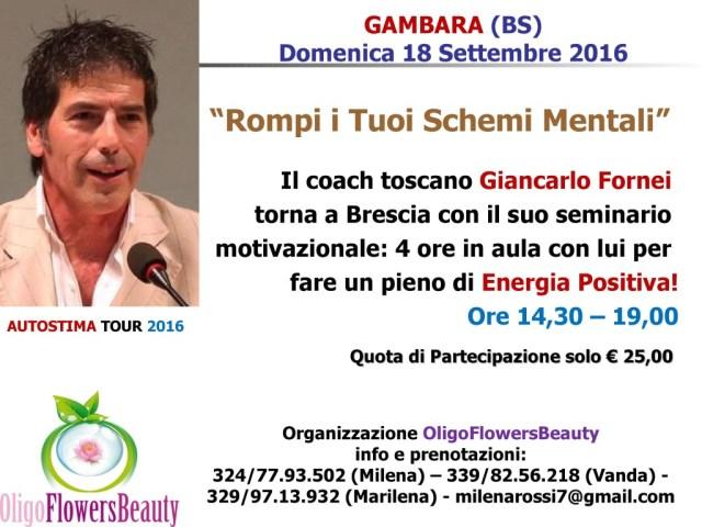 AUTOSTIMA - Brescia (Gambara) - seminario motivazionale con Giancarlo Fornei 18 settembre 2016