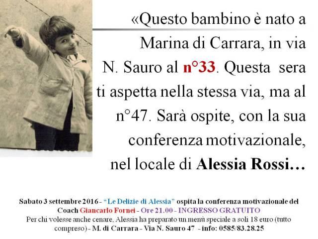 AUTOSTIMA - Giancarlo Fornei a Marina di Carrara - Le Delizie di Alessia - conferenza autostima 3 settembre 2016