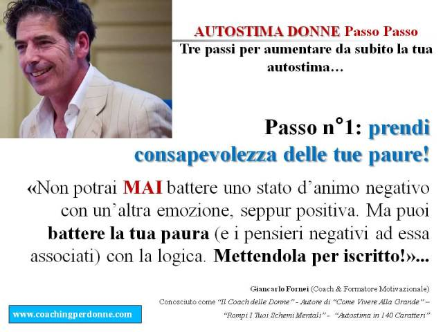 AUTOSTIMA DONNE Passo Passo - 3 passi per creare autostima in una donna (passo n° 1) - una frase del coach motivazionale Giancarlo Fornei (4 ottobre 2017)